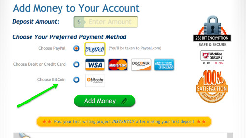 Add/ deposit Money to hire writers