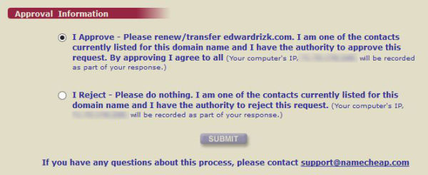 Domain Approval agreement