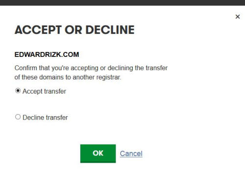 Godaddy - Accept or Decline Domain Transfer