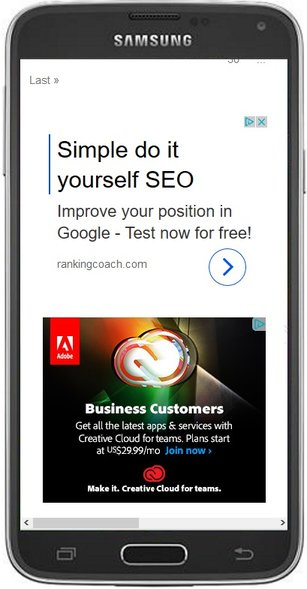 Google adsense ads on Mobile phone screen