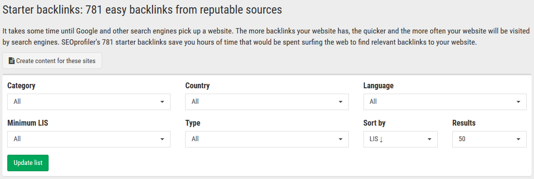 "the ""Starter backlinks"" tool helps you find easy backlinks from reputable sources. It saves you hours of time that would be spent surfing the web."